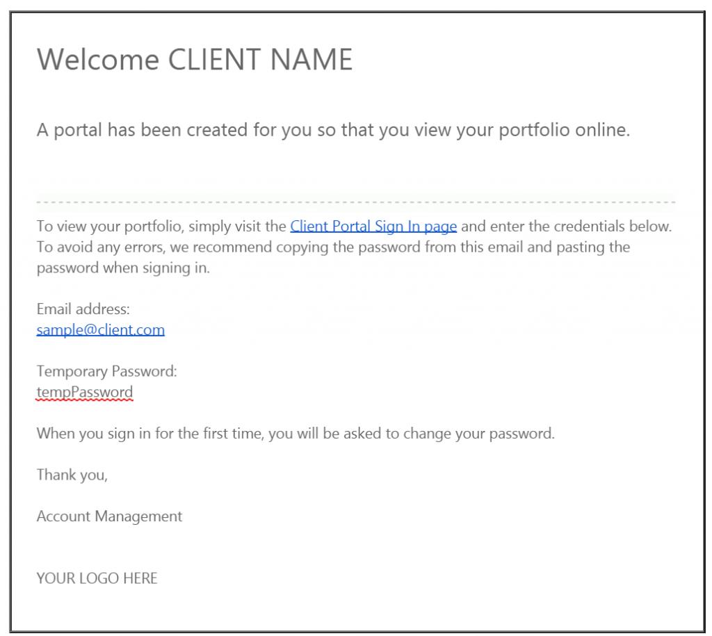 Client Portal Activation Email